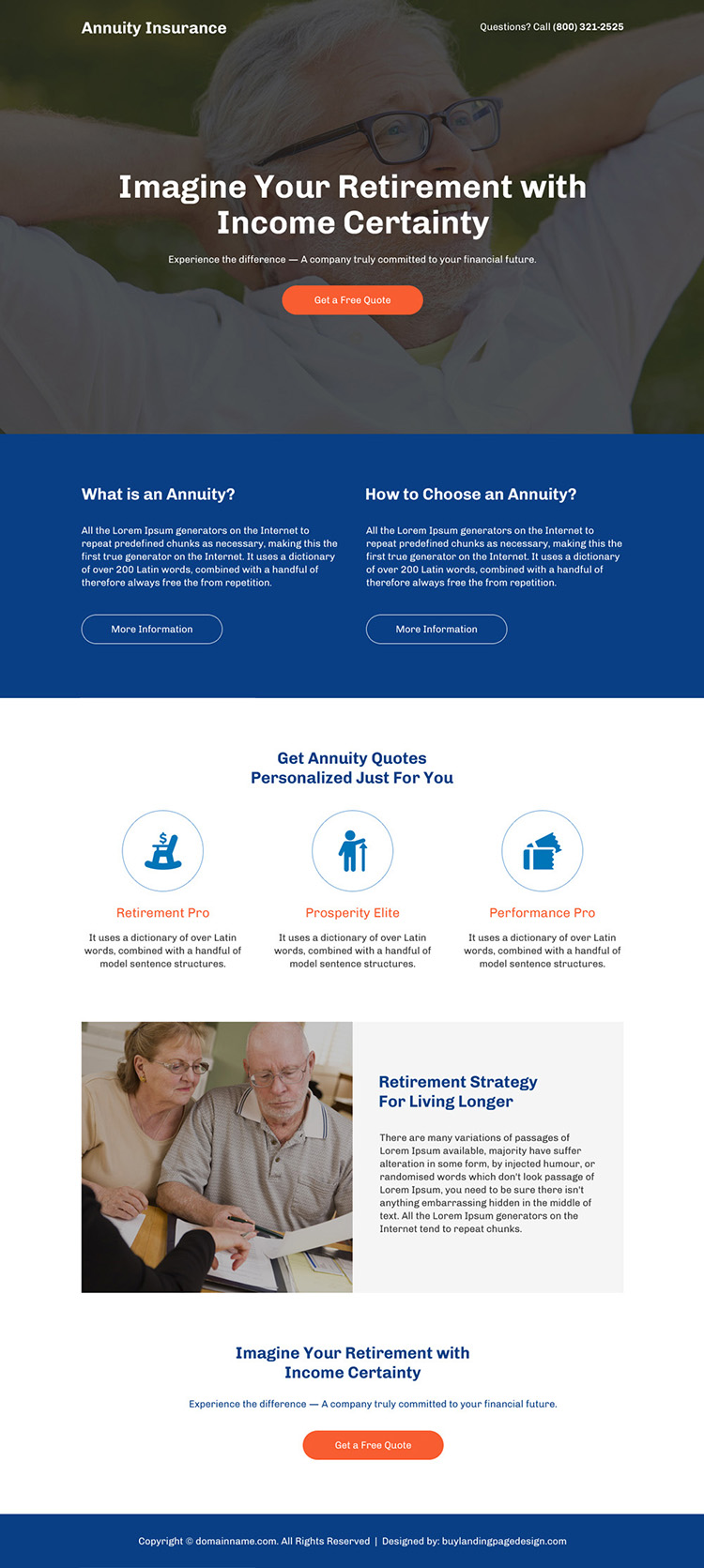 retirement with income certainty responsive landing page
