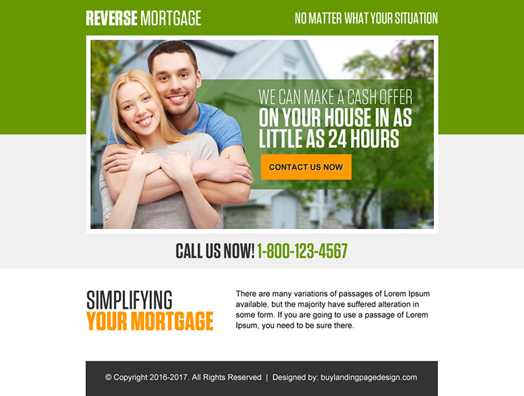 reverse mortgage for your home ppv landing page design
