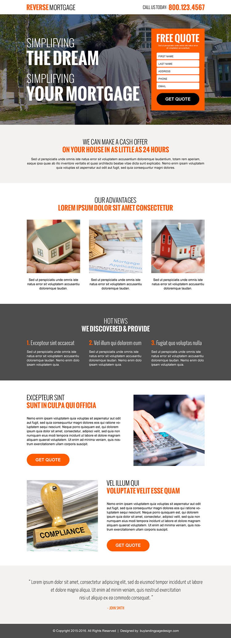 reverse mortgage free quote lead gen landing page design template