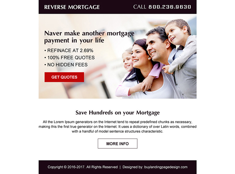 reverse mortgage ppv landing page design