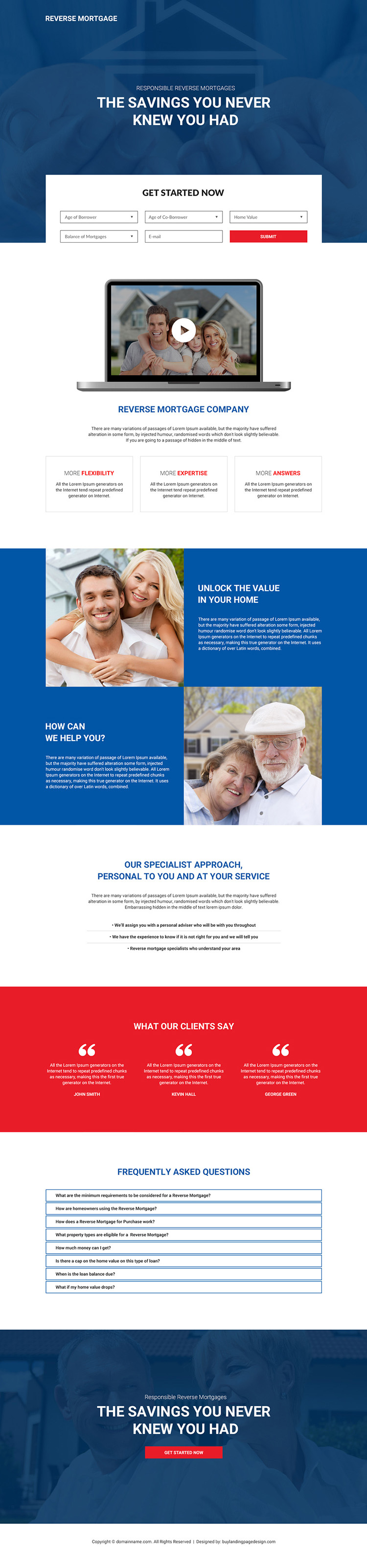 reverse mortgage company responsive landing page design