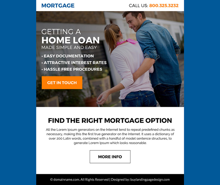 right mortgage option ppv landing page design