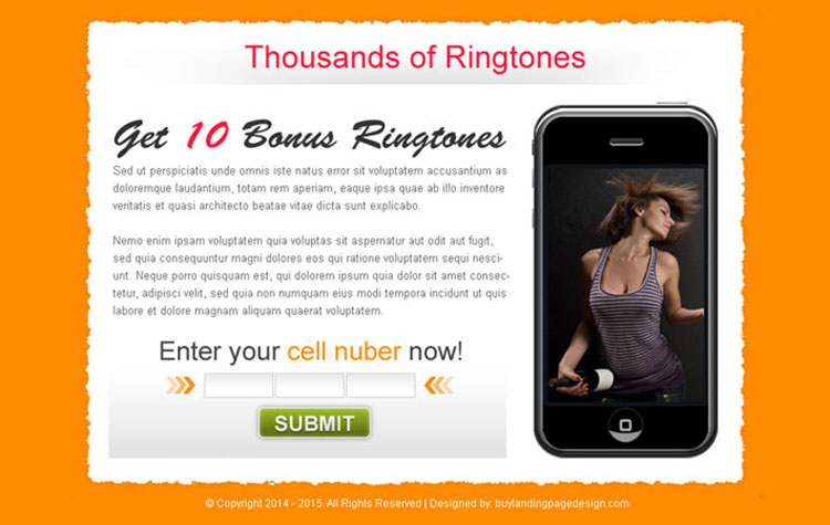 ringtone download lead capture effective ppv landing page design template