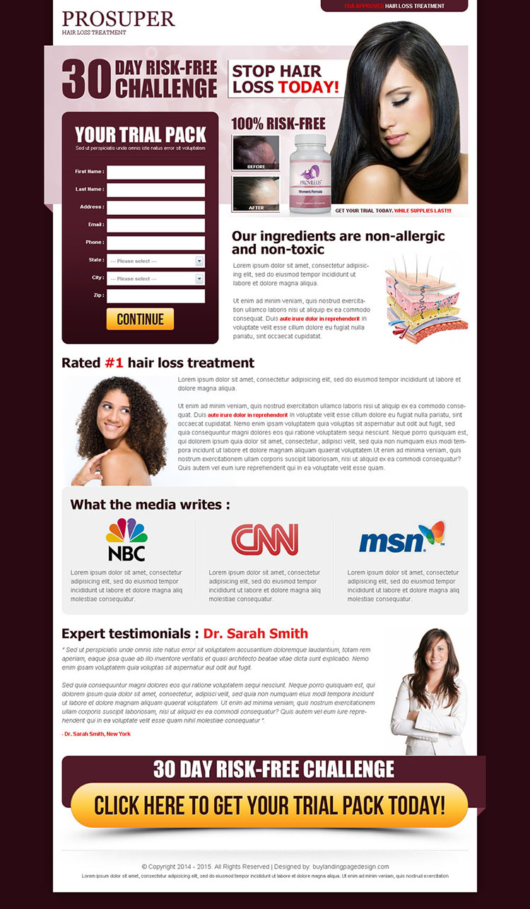 hair loss treatment risk free challenge lead capture landing page