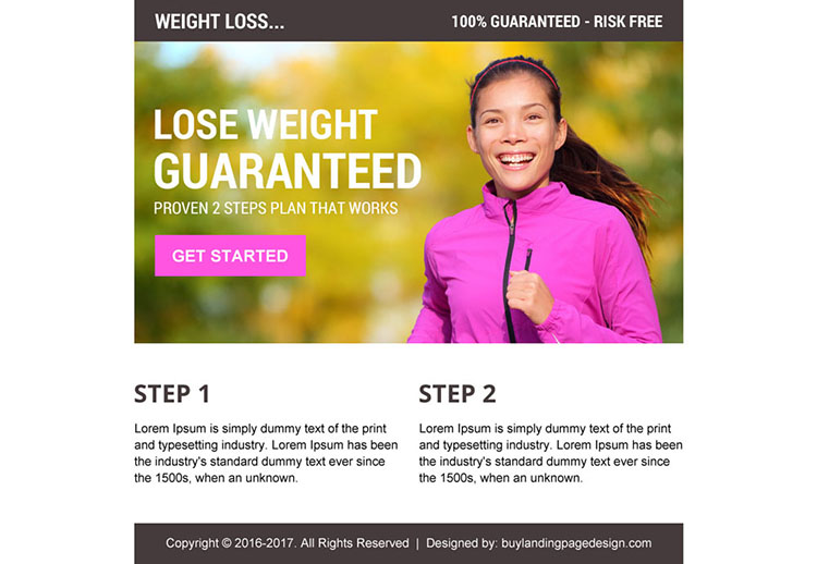 risk free proven weight loss call to action ppv landing page