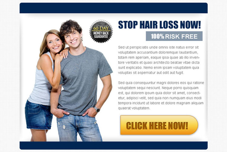 stop hair loss now risk free call to action ppv landing page design