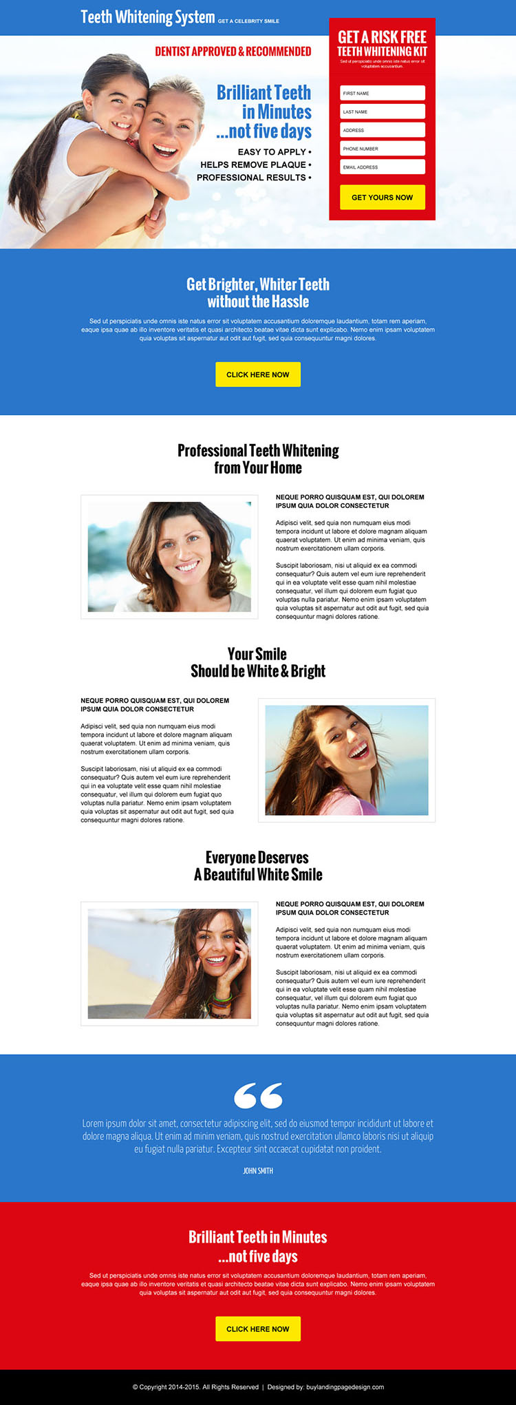 risk free teeth whitening kit leads responsive landing page design
