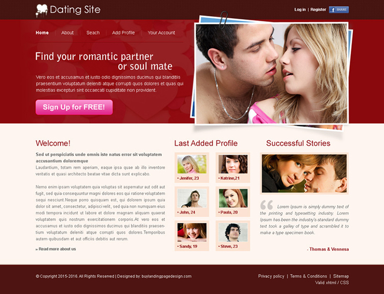 dating website clean and simple website template psd for sale