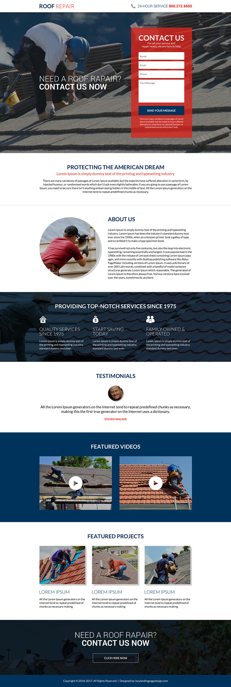 roofing repair service lead capturing landing page design