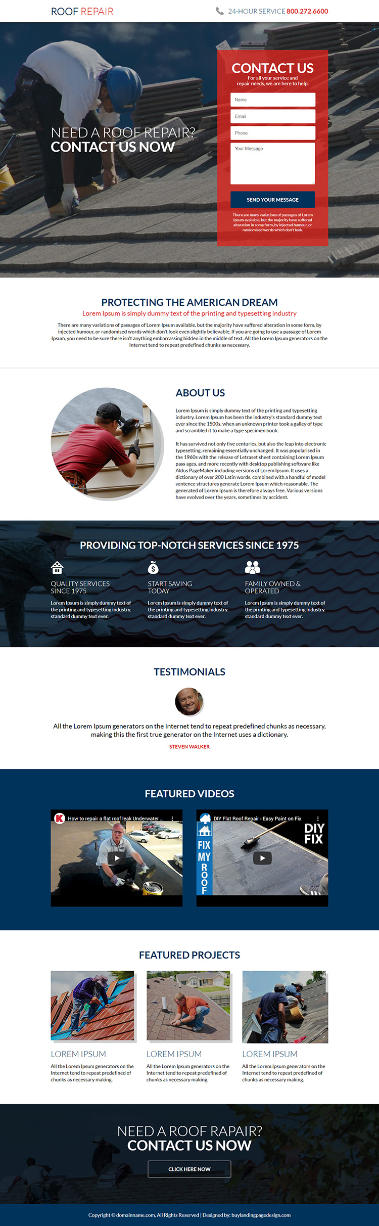 american roofing and restoration service responsive landing page