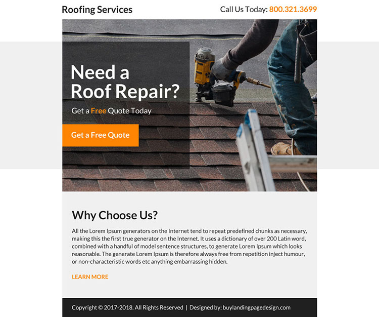 roofing repair service professional ppv landing page design