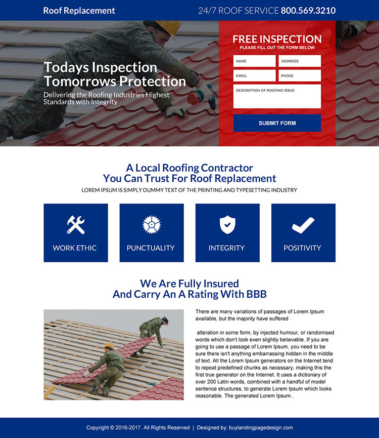 roof replacement free inspection responsive landing page design