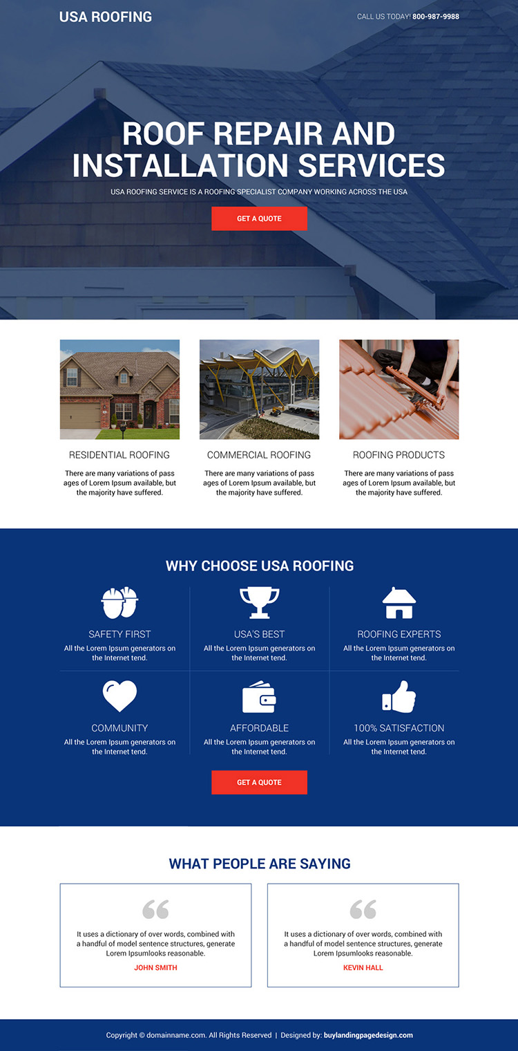 roofing repair and installation service landing page design
