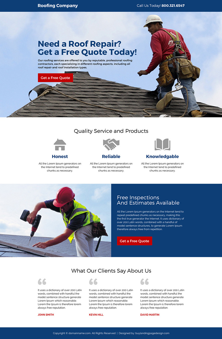 roofing company free estimates responsive landing page design
