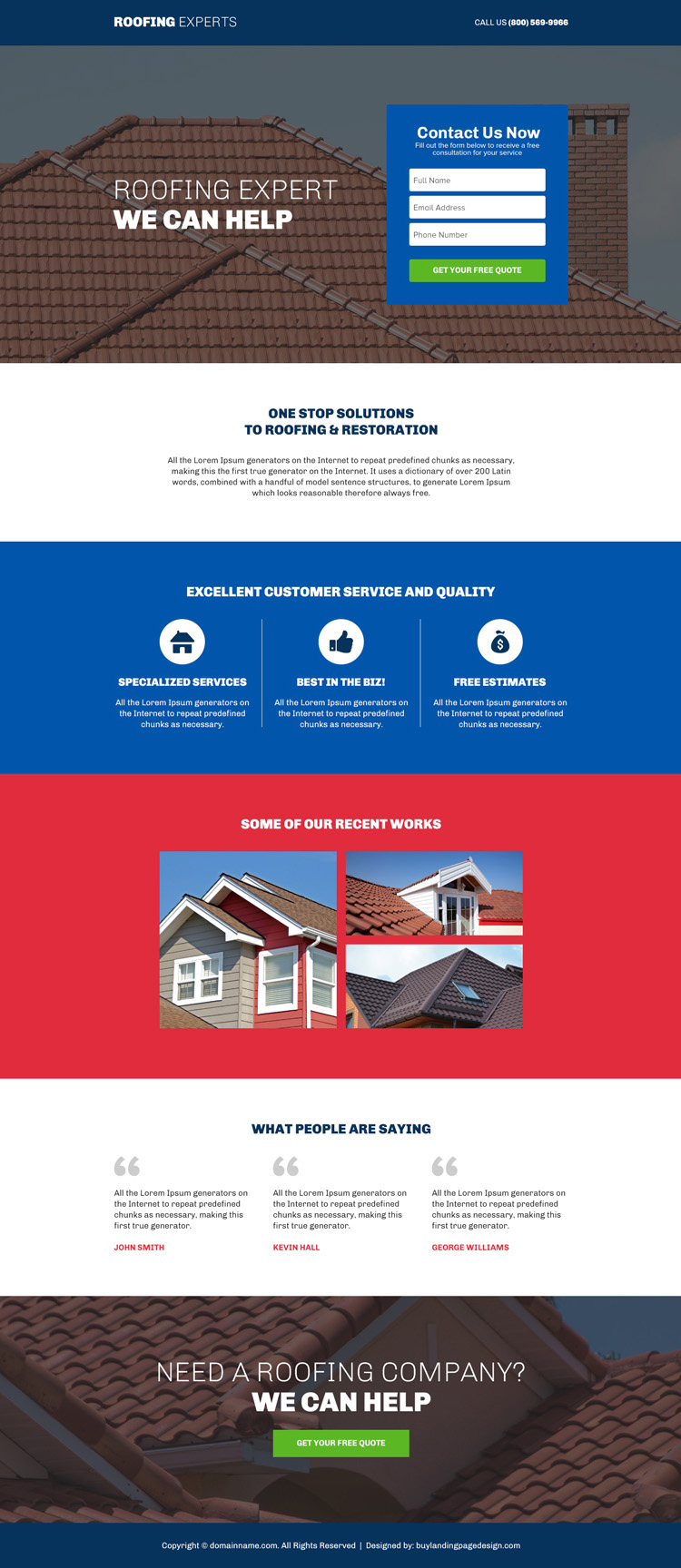 roofing experts responsive lead capture landing page design