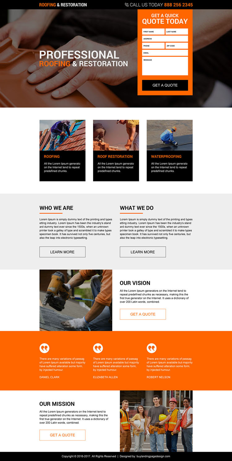 roofing and restoration services responsive landing page design