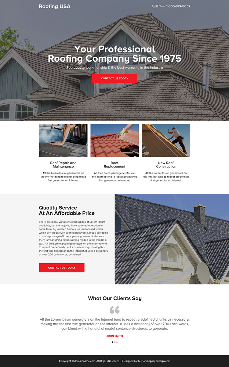 professional roofing company call to action landing page design