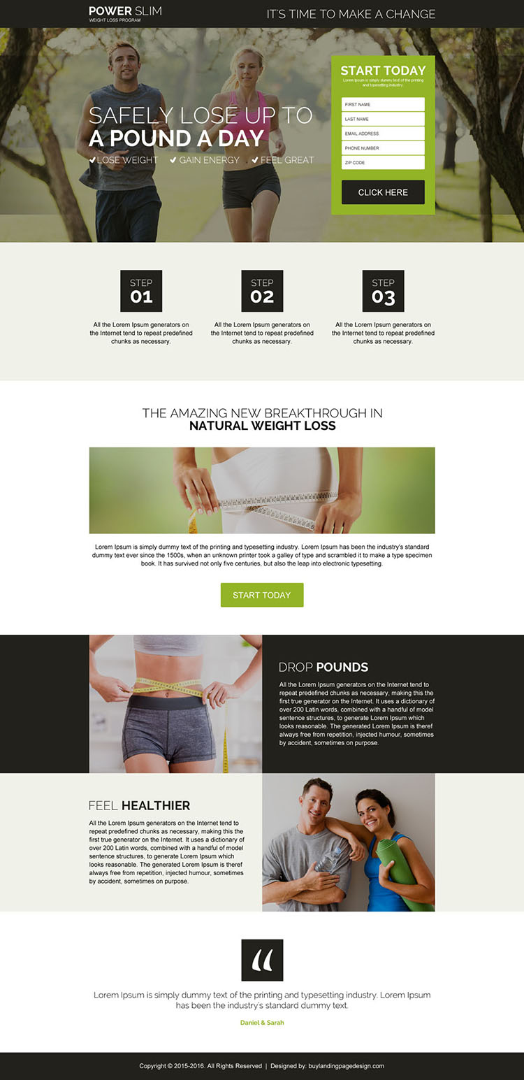 safe and natural weight loss program responsive landing page design