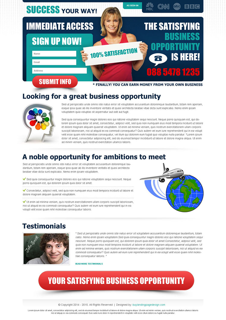 satisfying business opportunity sign up now converting lead capture squeeze page design