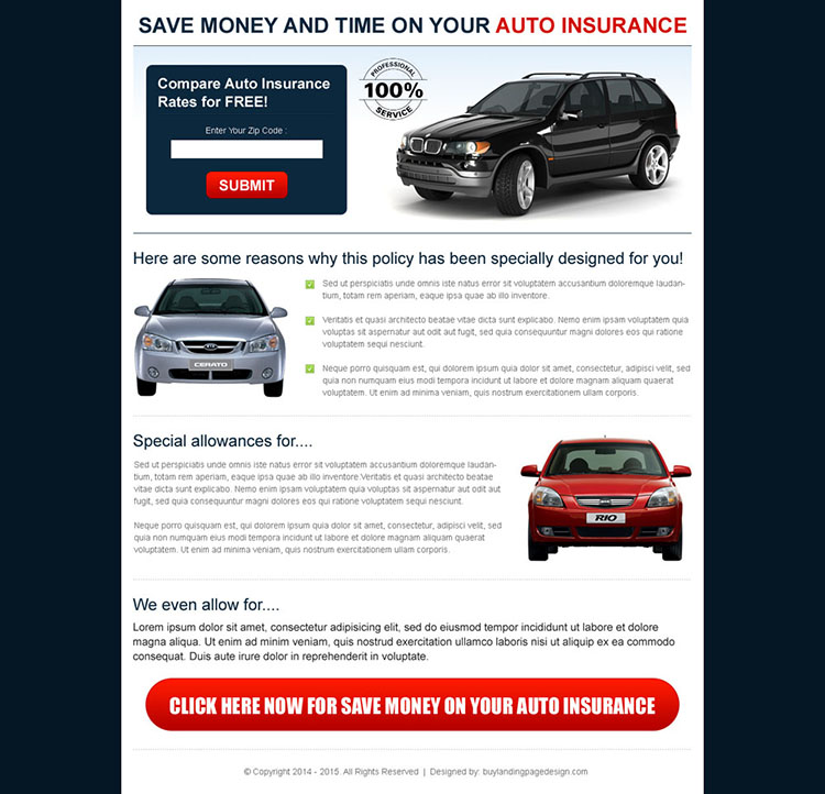 save money and time on your auto insurance zip capture landing page