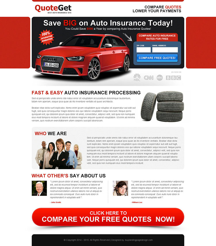 save big money on auto insurance today zip capture landing page design