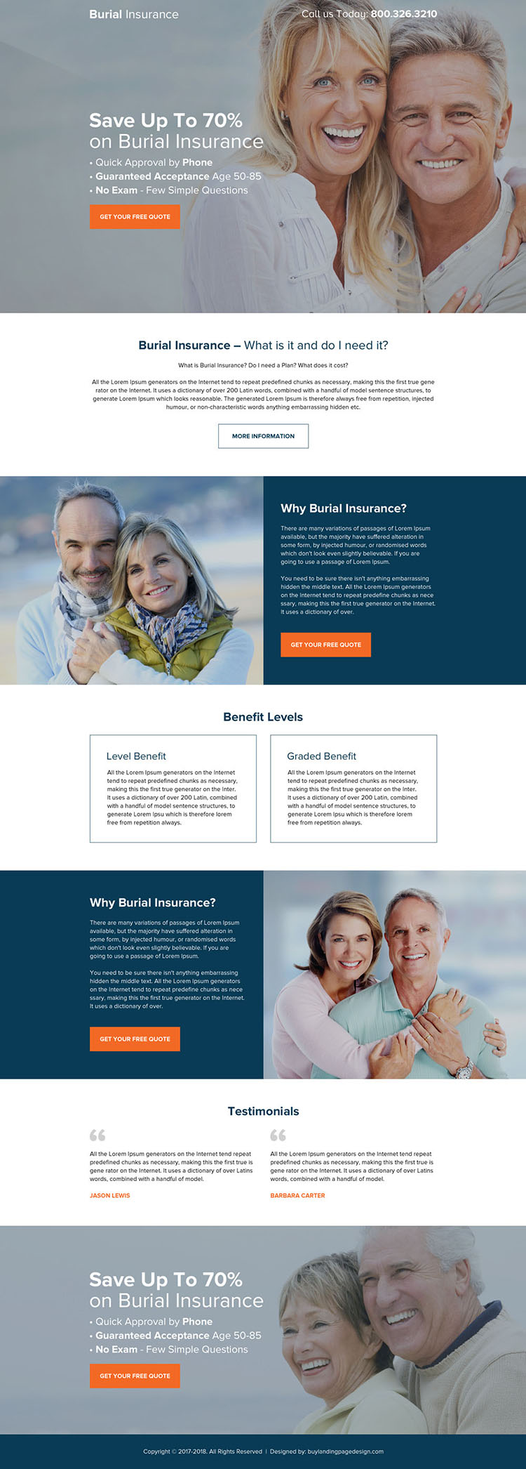 burial insurance quick approval landing page design
