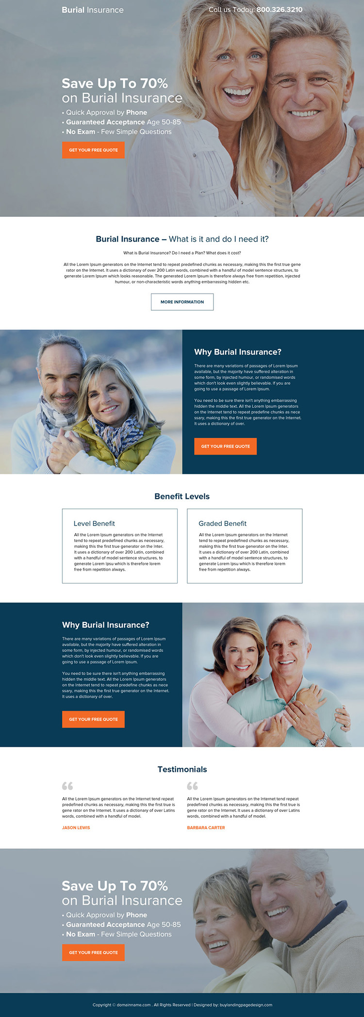 burial insurance responsive long landing page design