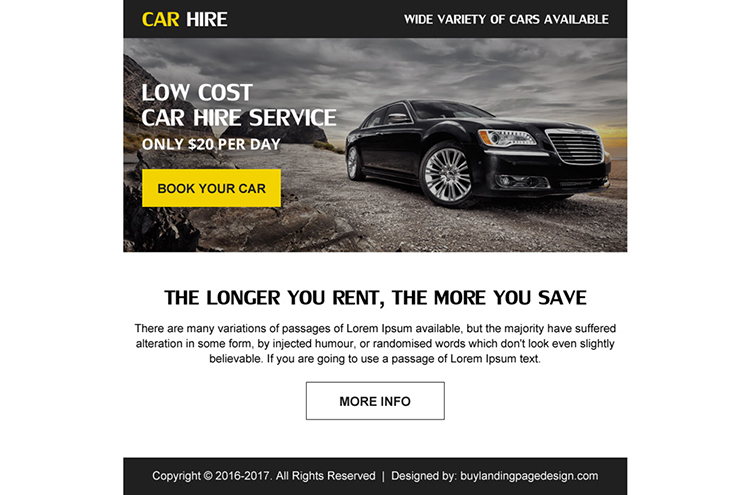 save money on car hire ppv landing page design