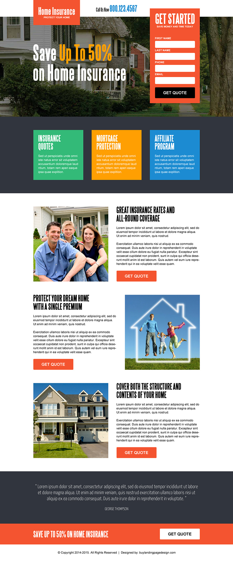 save money on home insurance lead generating squeeze page design