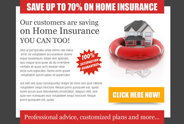save money on your home insurance call to action optimized ppv lander design