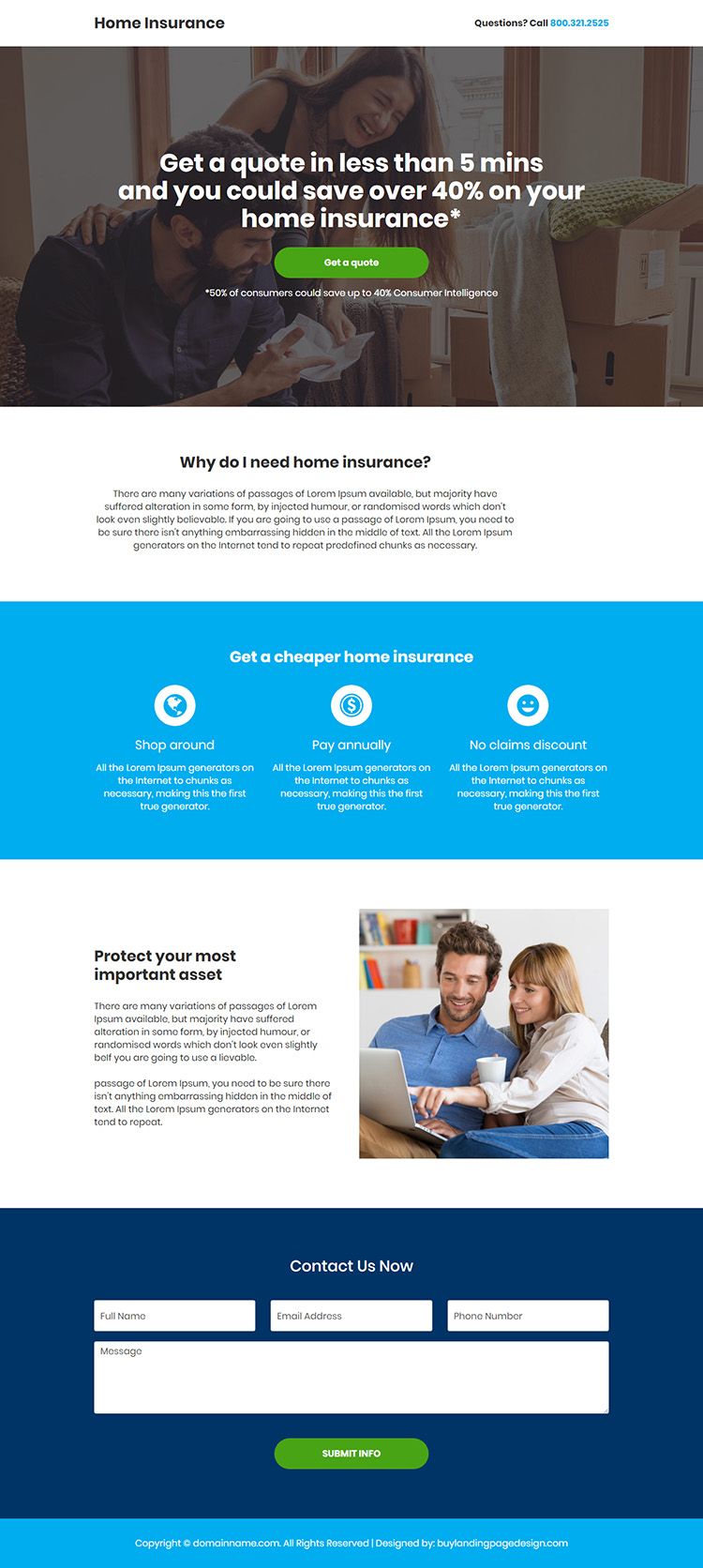 minimal home insurance responsive landing page design