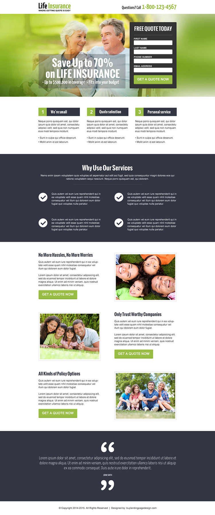 save money on life insurance free quote landing page