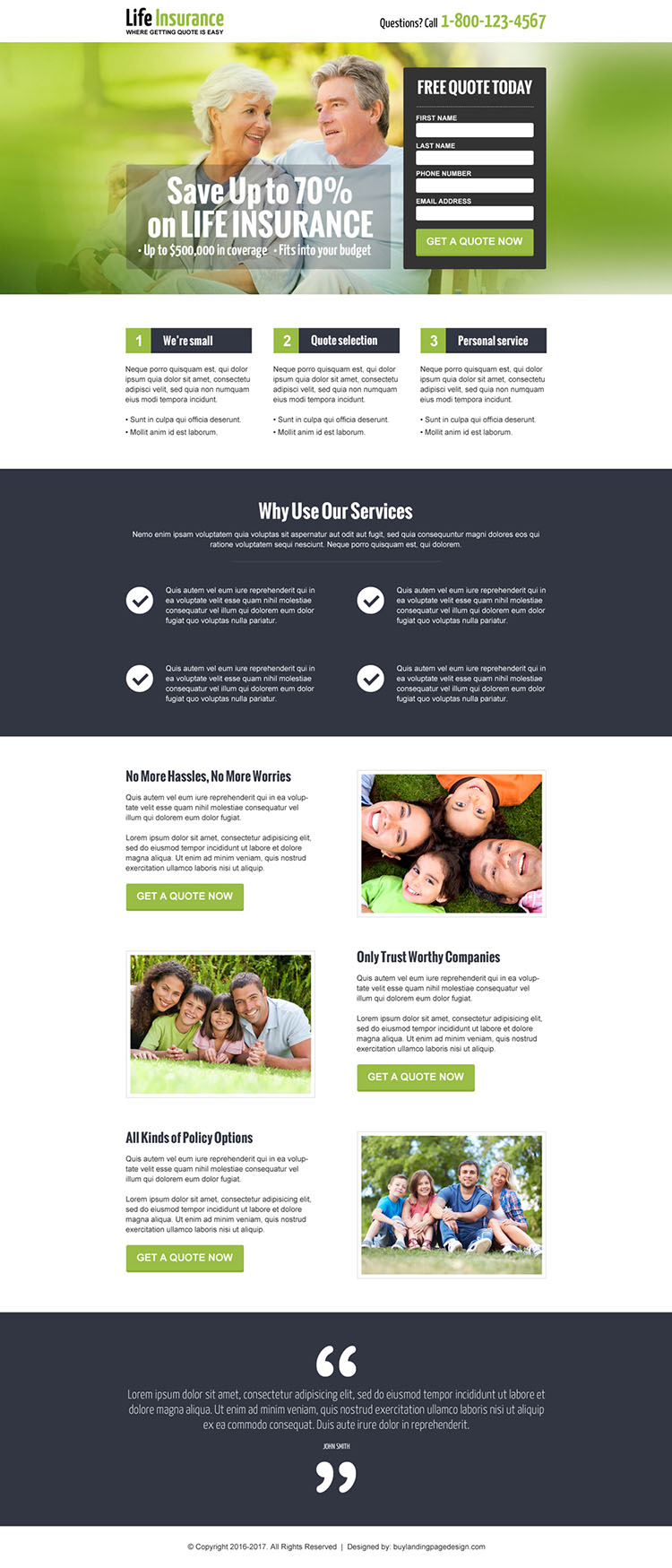 save money on life insurance responsive landing page design