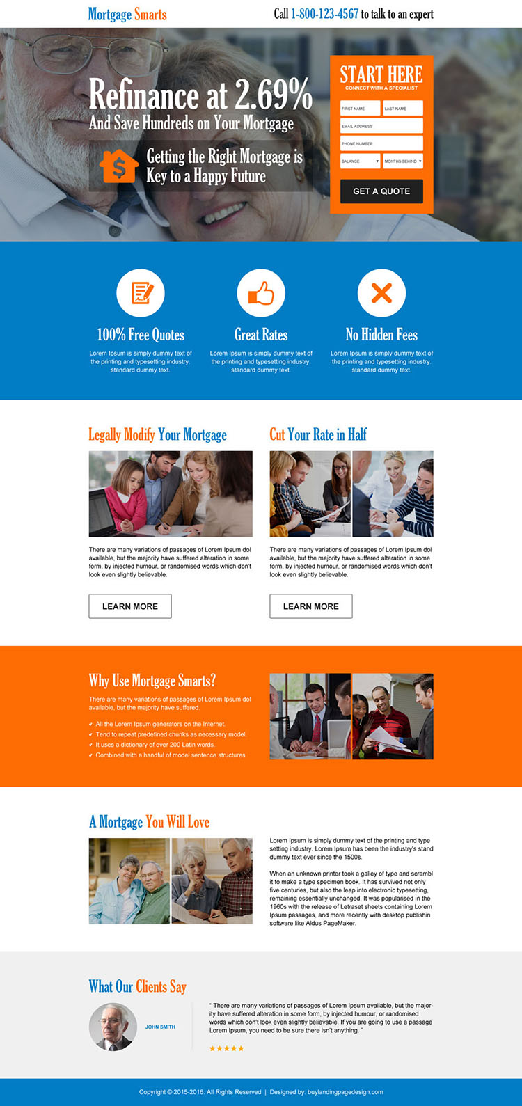 save money on mortgage consultant converting landing page design