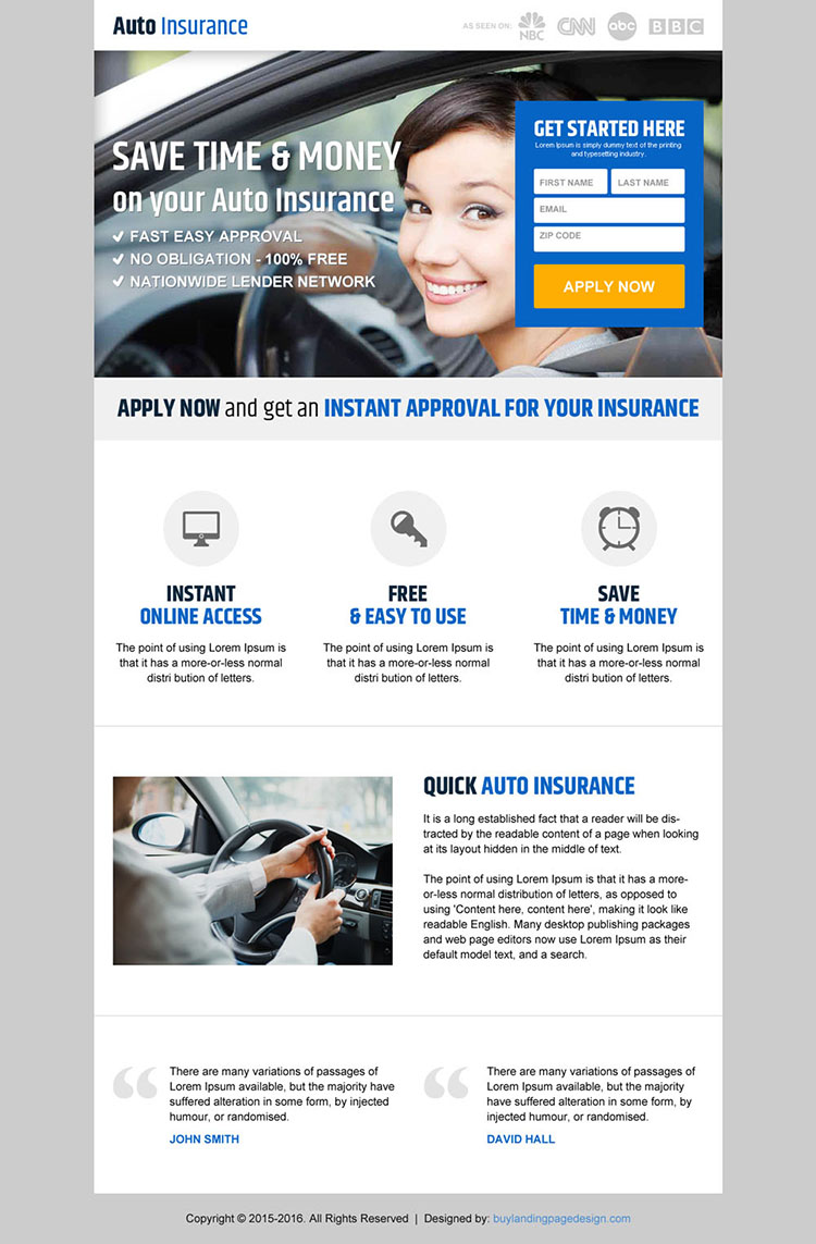 clean auto insurance small lead capture landing page design