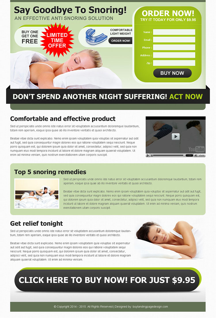 effective anti snoring product order now lead generating landing page design