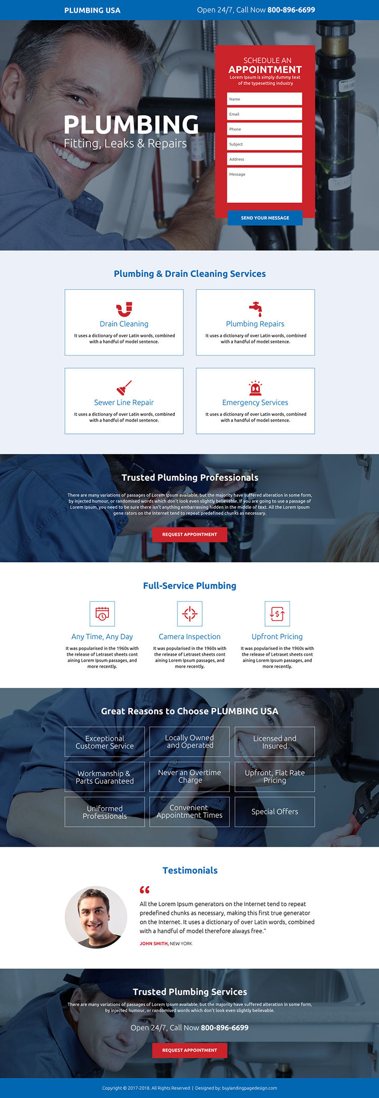 trusted plumbing professionals responsive landing page