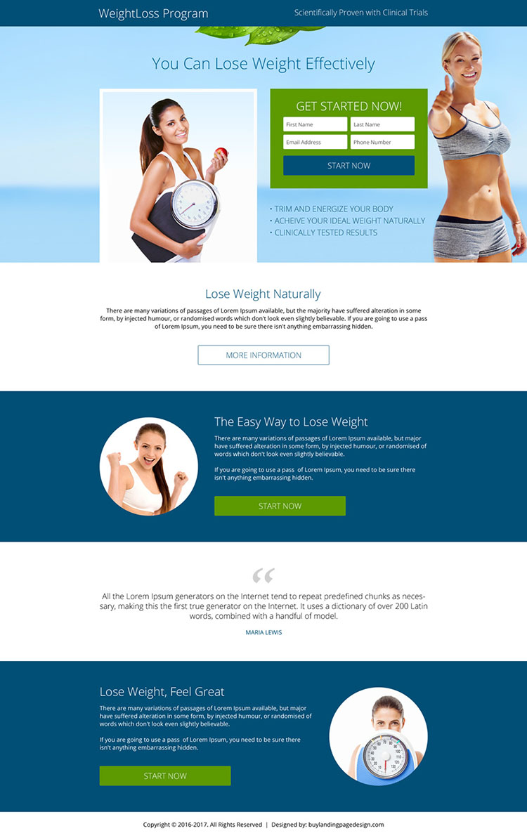 premium weight loss lead generating landing page