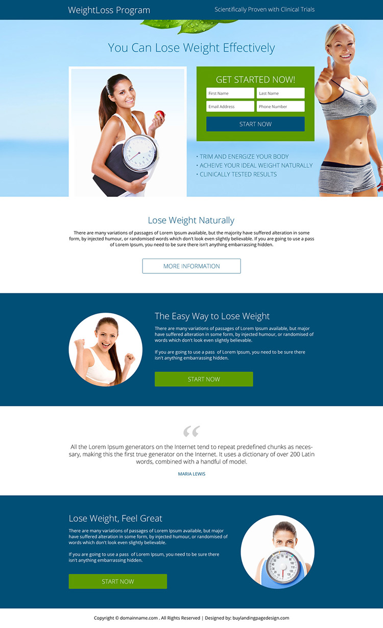 weight loss program small lead form responsive landing page