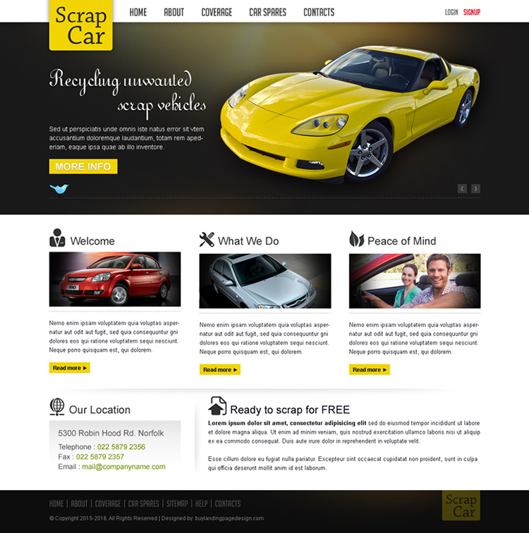 scrap car business website template design psd for sale