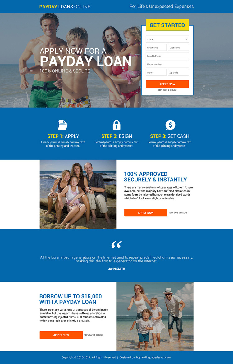 secure instant payday loan online landing page design