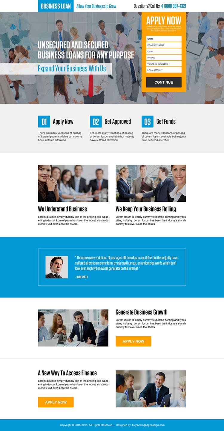 responsive secured and unsecured business loan landing page