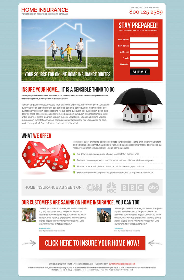 insure your home now highest converting home insurance landing page design to boost your conversion rate