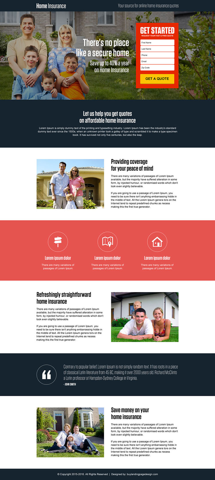 secure online home insurance free quote small lead capture landing page