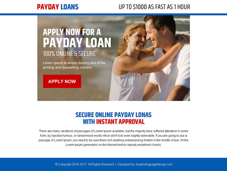 secure online payday loan call to action ppv landing page