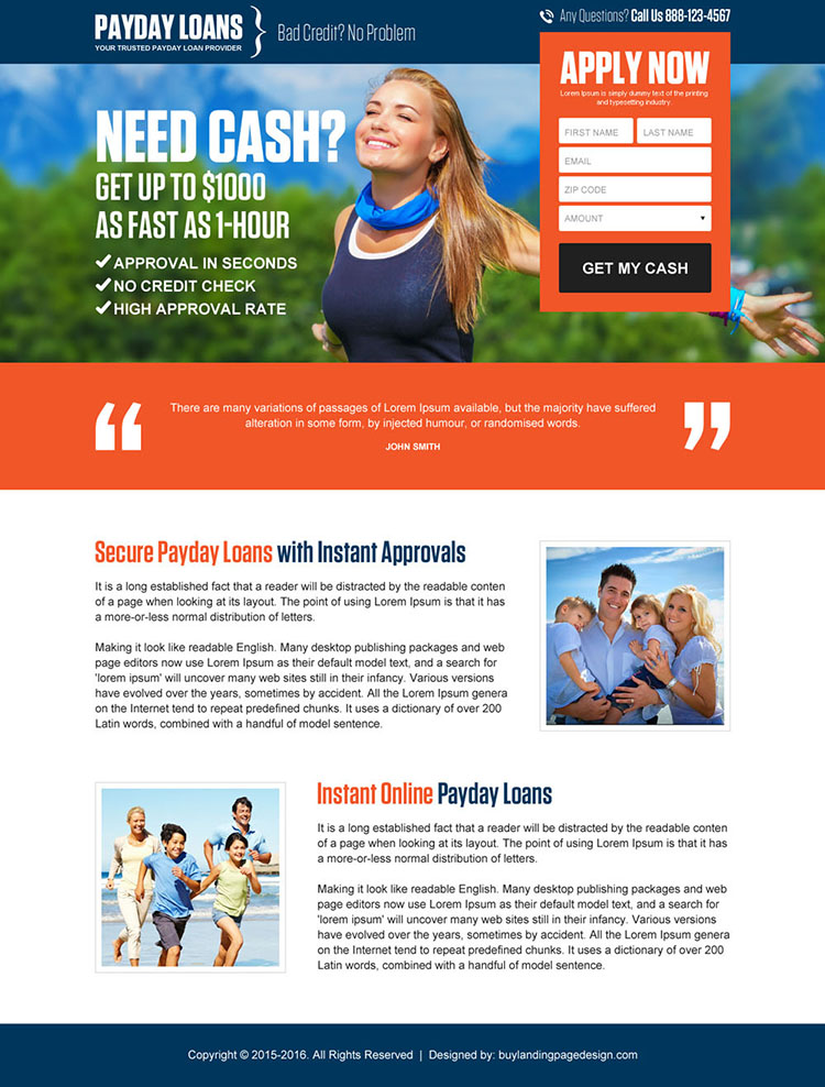 secure payday loan appealing lead gen landing page design