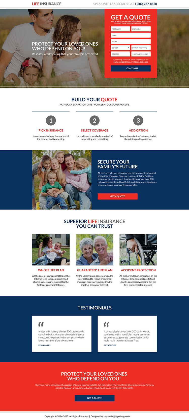 secure your family future life insurance responsive landing page