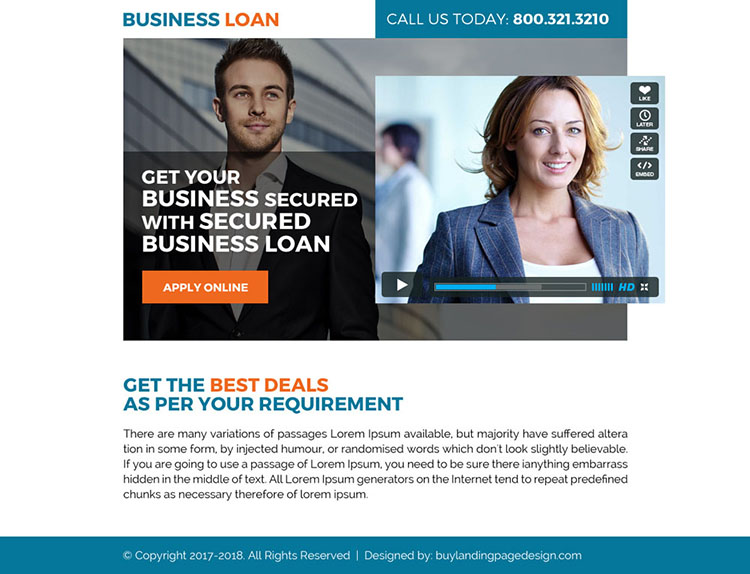 secured business loan video ppv landing page design