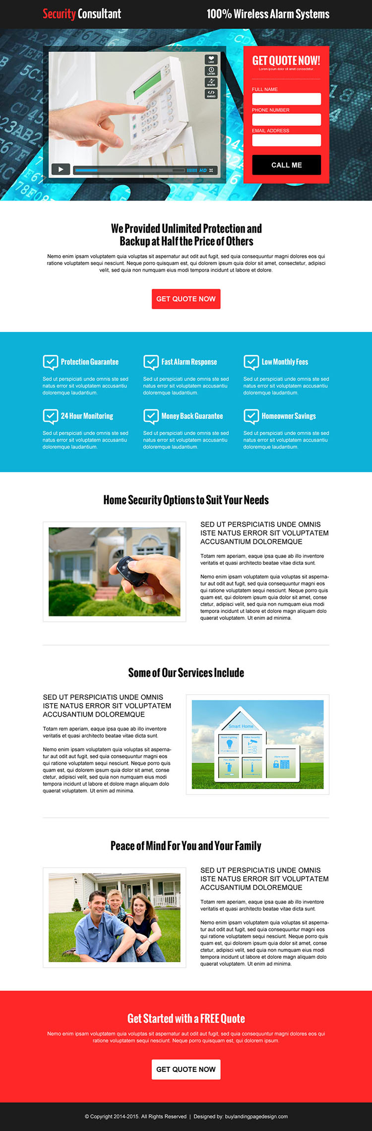 security agency consultation service lead capture video landing page design template