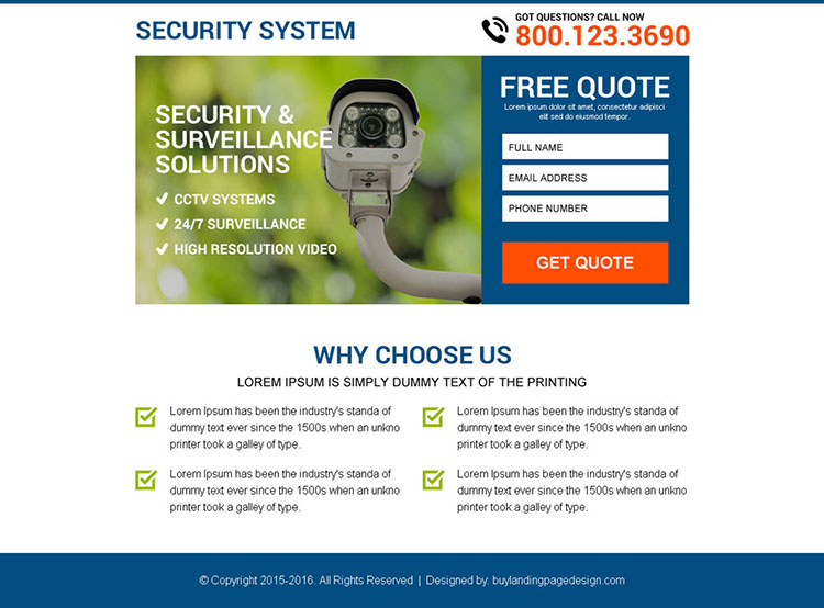 security and surveillance free quote capturing ppv landing page